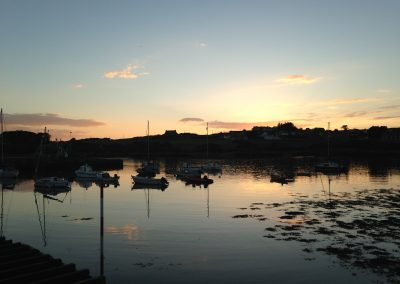 Sunset over the Isle of Whithorn harbour